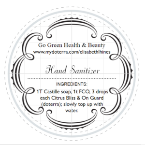 Hand Sanitizer 1 label